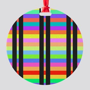 Colorful Stripes Pattern Round Ornament