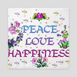 Peace Love Happiness Queen Duvet