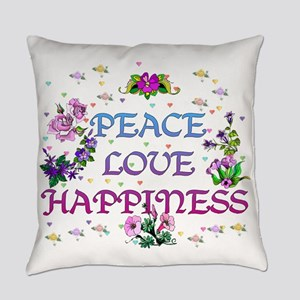 Peace Love Happiness Everyday Pillow