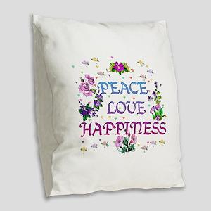 Peace Love Happiness Burlap Throw Pillow