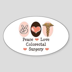 Peace Love Colorectal Surgery Oval Sticker
