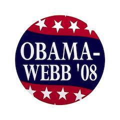 """Obama-Webb '08 Big 3.5"""" Button"""