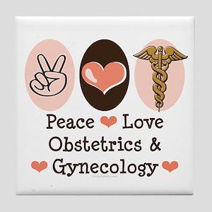 Peace Love OB/GYN Doctor Tile Coaster