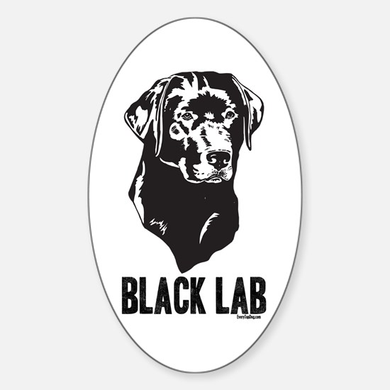 Black Lab Oval Decal