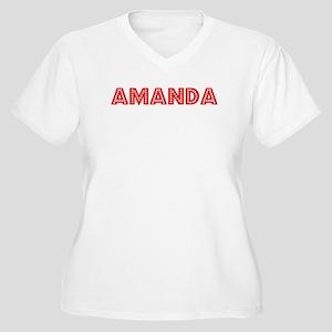 Retro Amanda (Red) Women's Plus Size V-Neck T-Shir
