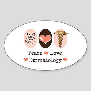 Peace Love Dermatology Oval Sticker