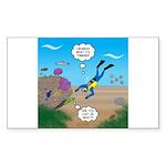 SCUBA Diver and Moray Eel Sticker (Rectangle)
