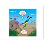 SCUBA Diver and Moray Eel Small Poster
