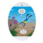 SCUBA Diver and Moray Eel Oval Ornament