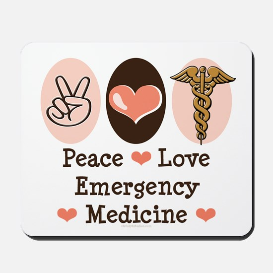 Peace Love ER Doctor Mousepad