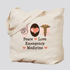 Peace Love ER Doctor Tote Bag