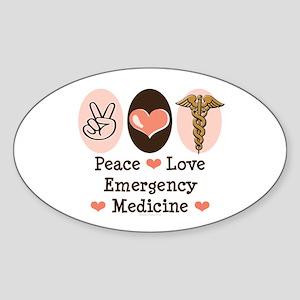 Peace Love ER Doctor Oval Sticker