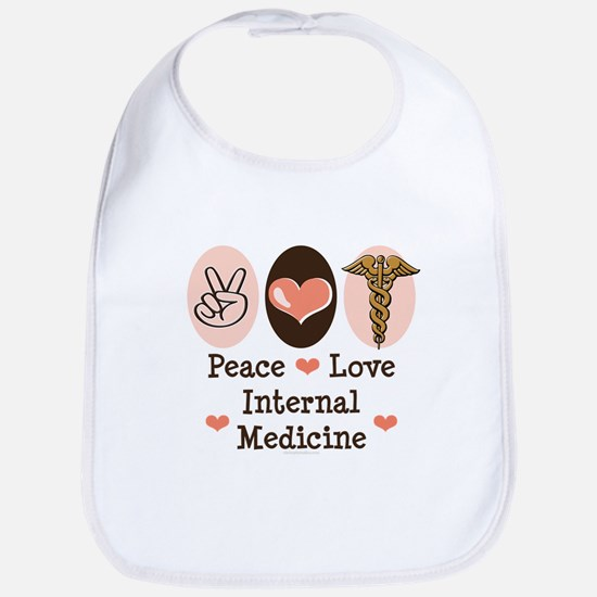 Peace Love Internal Medicine Bib