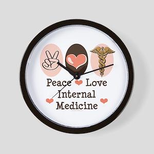 Peace Love Internal Medicine Wall Clock