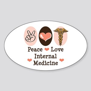 Peace Love Internal Medicine Oval Sticker