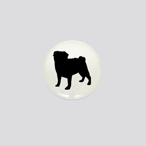 Pug Silhouette Mini Button