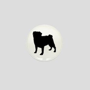 Pug Silhouette Mini Button