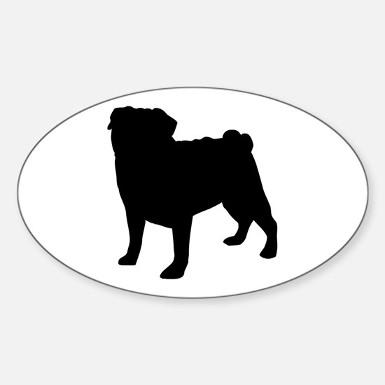 Pug Silhouette Oval Decal