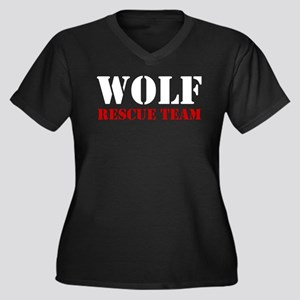 Wolf Rescue Team Women's Plus Size V-Neck Dark T-S