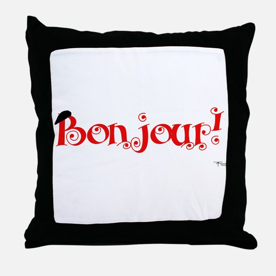 Bonjour! Throw Pillow