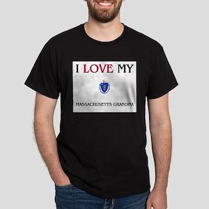 I Love My Massachusetts Grandma Dark T-Shirt