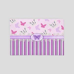 Pink Butterflies 4' x 6' Rug