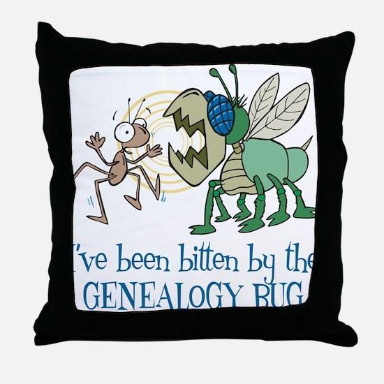 Bitten by Genealogy Bug Throw Pillow