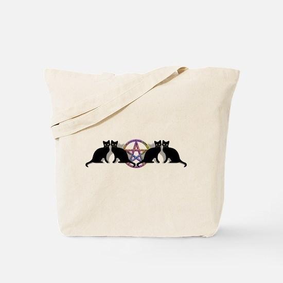 Black cat magic witch Tote Bag