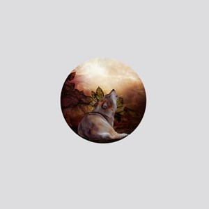 Awesome wolf in the night Mini Button