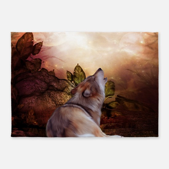Awesome wolf in the night 5'x7'Area Rug