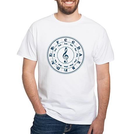 Dk. Blue Circle of Fifths White T-Shirt