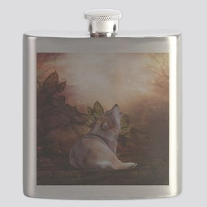 Awesome wolf in the night Flask