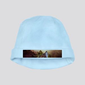 Awesome wolf in the night Baby Hat
