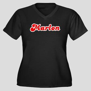Retro Marlon (Red) Women's Plus Size V-Neck Dark T