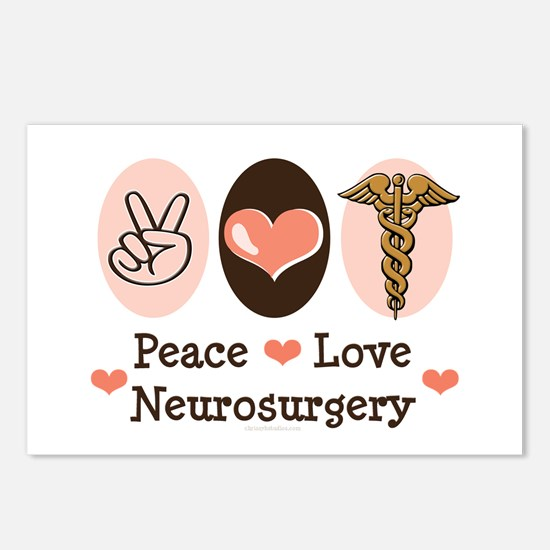 Peace Love Neurosurgery Postcards (Package of 8)