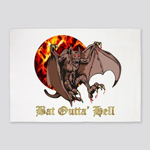 Bat and Full Moon Bat Outta Hell 5'x7'Area Rug