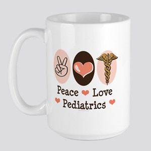 Peace Love Pediatrics Large Mug