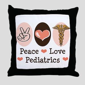 Peace Love Pediatrics Throw Pillow