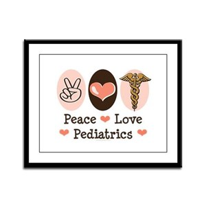 Peace Love Pediatrics Framed Panel Print