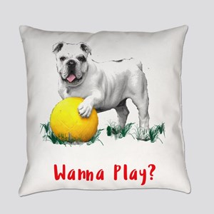 Bulldog with Yellow Soccer Ball TE Everyday Pillow