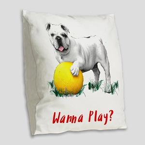 Bulldog with Yellow Soccer Bal Burlap Throw Pillow