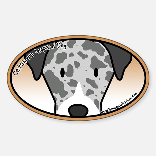 Anime Catahoula Leopard Dog Oval Decal
