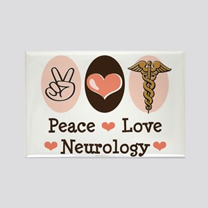 Peace Love Neurology Rectangle Magnet