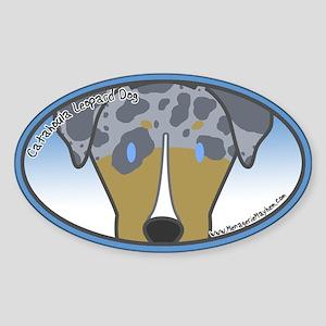 Anime Quad Catahoula Leopard Dog Oval Sticker