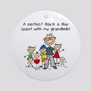 Grandpa Stick Figure Ornament (Round)