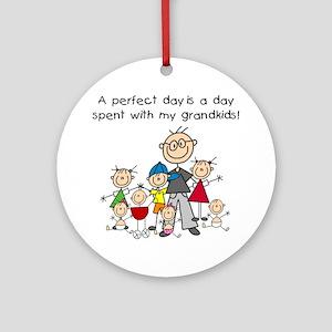 Grandpa Stick Figure Ornament (Round)