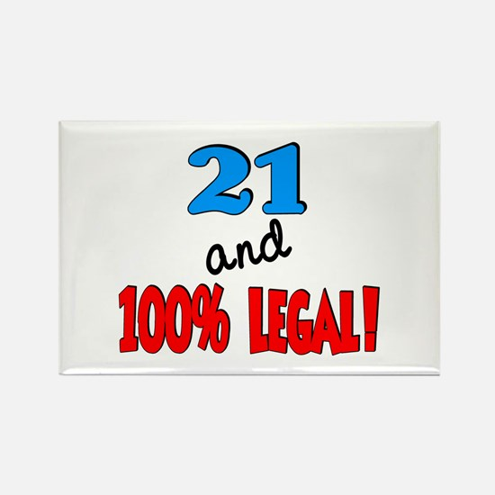 21 and 100% legal Rectangle Magnet