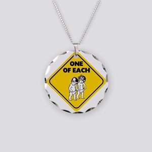 One of Each Twins Necklace Circle Charm