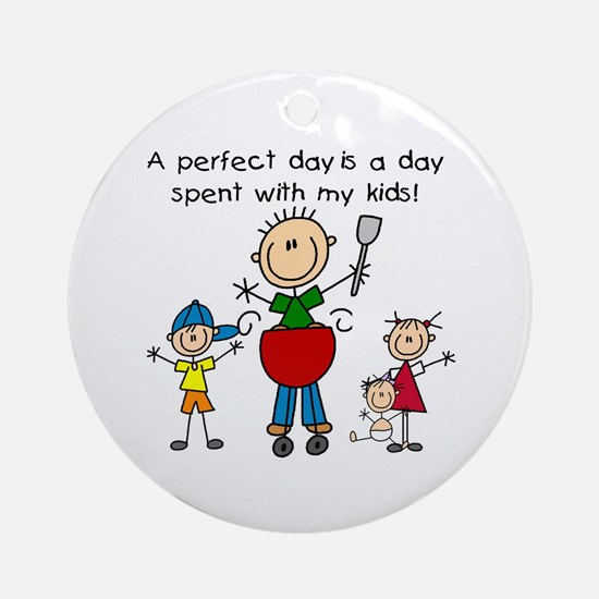 BBQ Dad Perfect Day Ornament (Round)