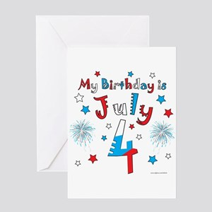 July 4th Birthday Red White Blue Greeting Card